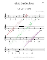 "Click to enlarge: ""La Cucaracha"" Beats Format"
