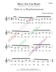 "Click to Enlarge: ""Ode to a Washerwoman"" Solfeggio Format"