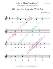 "Click to Enlarge: ""Oh, A-Hunting We Will Go"" Pitch Number Format"