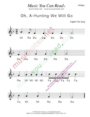 "Click to Enlarge: ""Oh, A-Hunting We Will Go"" Solfeggio Format"