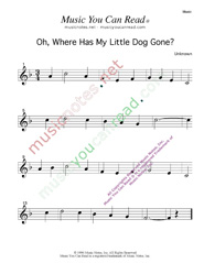 """Oh, Where Has My Little Dog Gone?"" Music Format"
