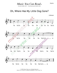 "Click to Enlarge: ""Oh, Where Has My Little Dog Gone?"" Rhythm Format"
