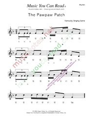 "Click to Enlarge: ""The Pawpaw Patch"" Rhythm Format"