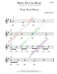 "Click to Enlarge: ""Pray God Bless"" Solfeggio Format"