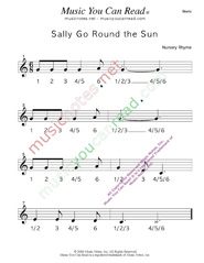 "Click to enlarge: ""Sally Go Round the Sun"" Beats Format"