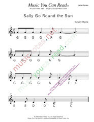 "Click to Enlarge: ""Sally Go Round the Sun"" Letter Names Format"