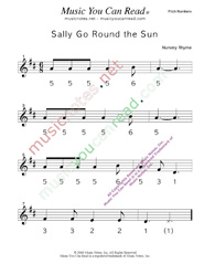 "Click to Enlarge: ""Sally Go Round the Sun"" Pitch Number Format"