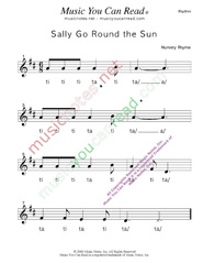 "Click to Enlarge: ""Sally Go Round the Sun"" Rhythm Format"