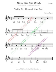 "Click to Enlarge: ""Sally Go Round the Sun"" Solfeggio Format"