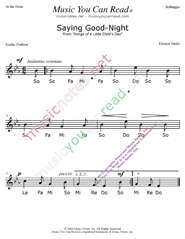 "Click to Enlarge: ""Saying Good Night"" Solfeggio Format"