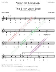 "Click to Enlarge: ""The Slow Little Snail"" Pitch Number Format"