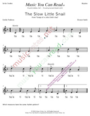"Click to Enlarge: ""The Slow Little Snail"" Rhythm Format"
