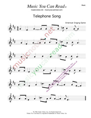 """Telephone Song,"" Music Format"
