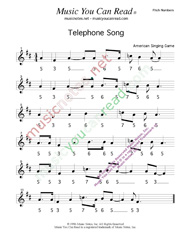 "Click to Enlarge: ""Telephone Song,"" Pitch Number Format"