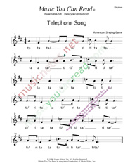 "Click to Enlarge: ""Telephone Song,"" Rhythm Format"