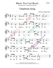 "Click to Enlarge: ""Telephone Song,"" Solfeggio Format"