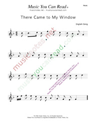 """There Came to My Window"" Music Format"