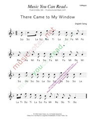 "Click to Enlarge: ""There Came to My Window"" Solfeggio Format"