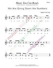 "Click to Enlarge: ""We Are Going Down the Numbers"" Rhythm Format"