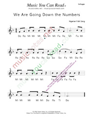 "Click to Enlarge: ""We Are Going Down the Numbers"" Solfeggio Format"
