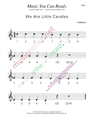 "Click to enlarge: ""We Are Little Candles"" Beats Format"