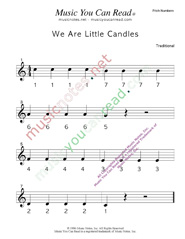 "Click to Enlarge: ""We Are Little Candles"" Pitch Number Format"