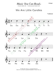 "Click to Enlarge: ""We Are Little Candles"" Solfeggio Format"