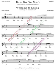 "Click to Enlarge: ""Welcome to Spring"" Solfeggio Format"
