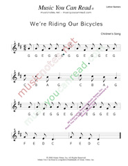 "Click to Enlarge: ""We're Riding Our Bicycles"" Letter Names Format"