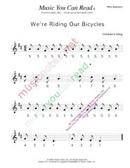 "Click to Enlarge: ""We're Riding Our Bicycles"" Pitch Number Format"