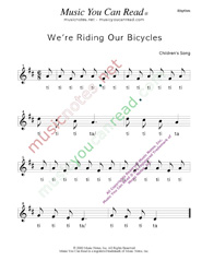 "Click to Enlarge: ""We're Riding Our Bicycles"" Rhythm Format"