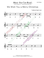 "Click to Enlarge: ""We Wish You a Merry Christmas"" Letter Names Format"