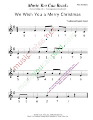 "Click to Enlarge: ""We Wish You a Merry Christmas"" Pitch Number Format"
