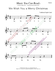 "Click to Enlarge: ""We Wish You a Merry Christmas"" Rhythm Format"
