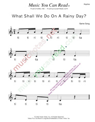 "Click to Enlarge: ""What Shall We Do on a Rainy Day?"" Rhythm Format"