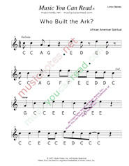 "Click to Enlarge: ""Who Built the Ark?"" Letter Names Format"