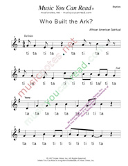"Click to Enlarge: ""Who Built the Ark?"" Rhythm Format"