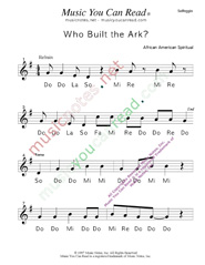 "Click to Enlarge: ""Who Built the Ark?"" Solfeggio Format"