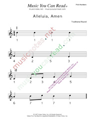 "Click to Enlarge: ""Alleluia, Amen"" Pitch Number Format"