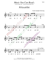 "Click to enlarge: ""Alouette"" Beats Format"