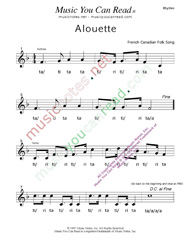 "Click to Enlarge: ""Alouette"" Rhythm Format"