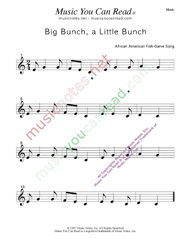"""Big Bunch, A Little Bunch"" Music Format"