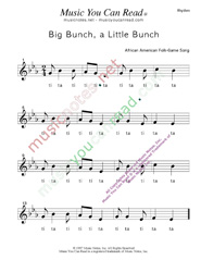 "Click to Enlarge: ""Big Bunch, A Little Bunch"" Rhythm Format"