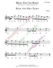 "Click to Enlarge: ""Blow the Man Down"" Letter Names Format"