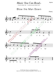"Click to Enlarge: ""Blow the Man Down"" Rhythm Format"
