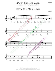 "Click to Enlarge: ""Blow the Man Down"" Solfeggio Format"