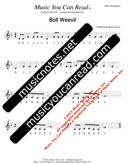 "Click to Enlarge: ""Boll Weevil,"" Pitch Number Format"