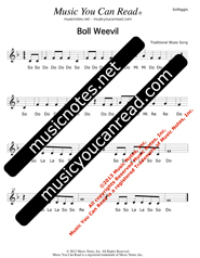 "Click to Enlarge: ""Boll Weevil,"" Solfeggio Format"