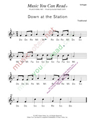 "Click to Enlarge: ""Down at the Station"" Solfeggio Format"