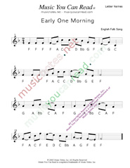 "Click to Enlarge: ""Early One Morning"" Letter Names Format"